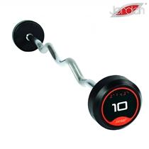 Bicepsová pogumovaná činka zalomená JORDAN 30 kg
