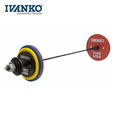 Powerlifting olympijský set činek IVANKO 142kg