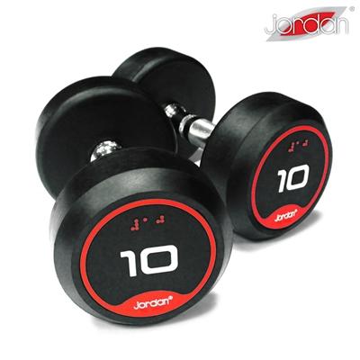 Jednoruční činky JORDAN RUBBER 1-10 kg (10 párů - stoupání po 1 kg) - SADA