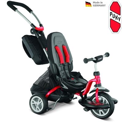 Dětská tříkolka PUKY CAT S6 Ceety s vodící tyčí červená