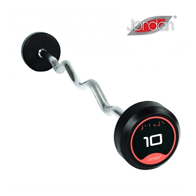 Bicepsová pogumovaná činka zalomená JORDAN 10 kg
