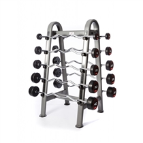 Sada bicepsových pogumovaných činek Jordan Fitness 10 - 45 kg + stojan 1